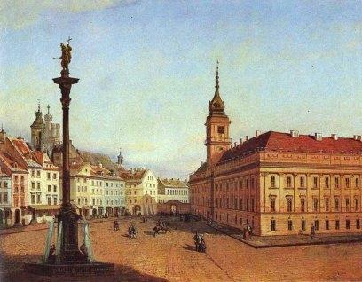 Zamek Królewski - Jan Seydlitz 1856. Na tym obrazie jest już wodotrysk, a fasady Zamku mają nowy wygląd.