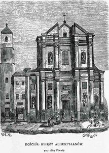 Kościół pod wezwaniem Świętego Marcina należący do Augustianów. Drzeworyt Michała Starkmana z około 1855
