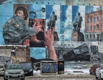 Mural w Łodzi.
