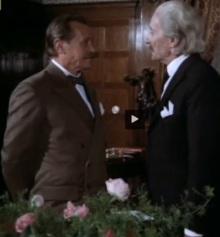 """Kadr z filmu """"Polonia Restituta"""". Edward House rozmawia z Ignacym Paderewskim. W postać amerykańskiego polityka wcielił się Emil Karewicz."""