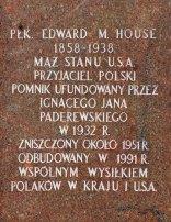 Pomnik Edwarda M. House'a. Napis wyryty na cokole.